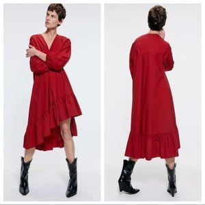 NWT. Zara Red Poplin Midi Dress. Size L.